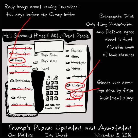 Trump's Phone: Updated and Annotated November 5, 2016